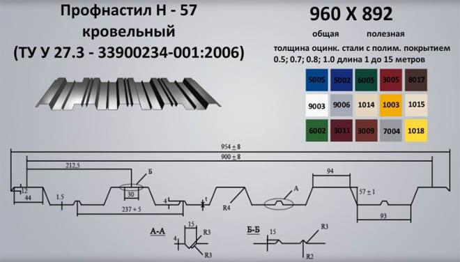 Профилированный лист Н-57 кровельный